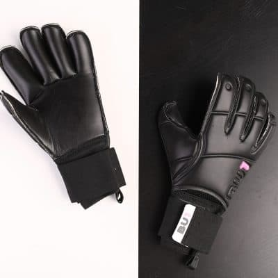 Football Goalkeeper Gloves BU1 All Black Roll Finger