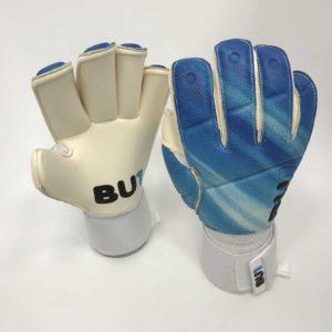 Soccer football goalkeeper gloves BU1 Blue Roll Finger Cut
